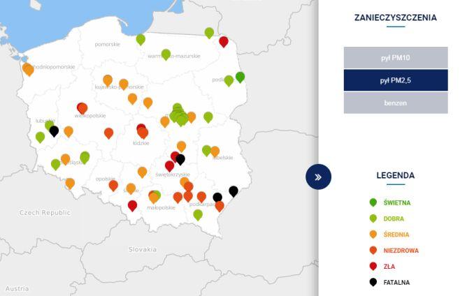Stężenie pyłu PM2,5 o godzinie 19 (tvnmeteo.pl za GIOŚ)