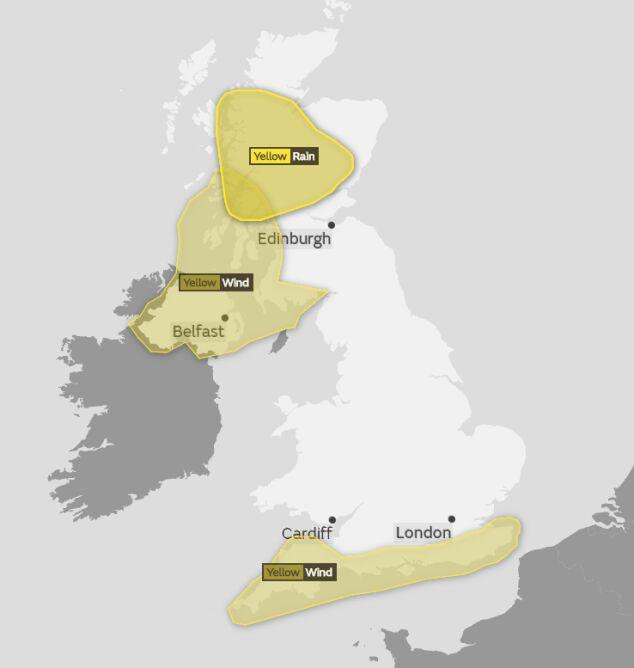 Ostrzeżenia meteorologiczne w piątek (MetOffice)