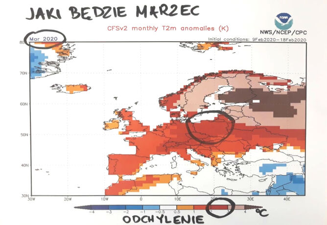 Wstępna prognoza pogody na marzec (tvnmeteo.pl/NOAA)